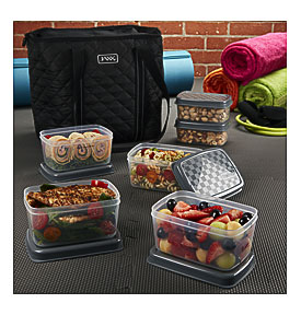 Quilted FitPak Meal Prep u0026 Yoga Bag With Portion Control Container Set & Bpa Free Freezer Bags | Towels and other kitchen accessories