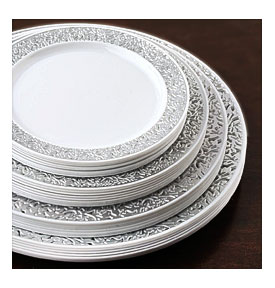 Silver Trimmed 10.25\  Round Disposable Plate Picturesque Collection . Plates .  sc 1 st  Towels and other kitchen accessories - .towelsand.com & Elegant Disposable Dinnerware | Towels and other kitchen accessories